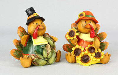 Youngs Fall Decor - Mr- and Mrs- Harvest Thanksgiving Turkey 85224