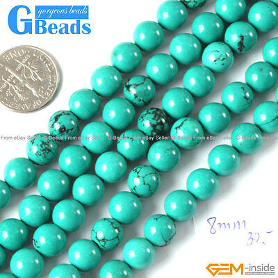 8mm Natural Turquoise Gemstone Round Beads For Jewelry Making Free Shipping 15
