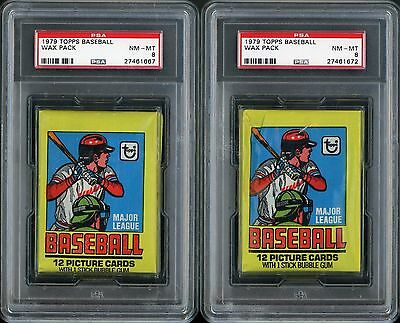 Lot of 2 1979 Topps Baseball Unopened Wax Pack PSA 8 NM-MT