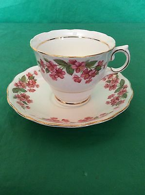 COLCLOUGH BONE CHINA CUP - SAUCER RED FLOWERS GOLD TRIM 6760