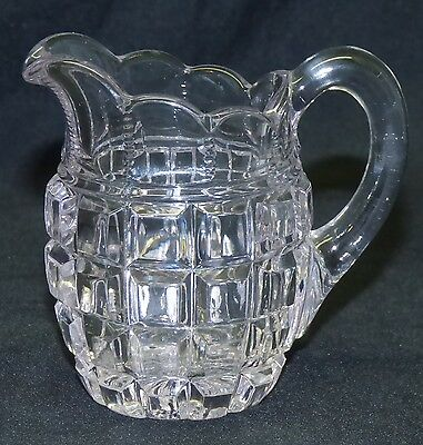 Old Miniature Mini EAPG Early Pattern Block Glass 3 Creamer Pitcher Clear
