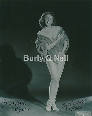 Hand Signed Photo Burlesque Lily Lilly Ann Rose 8x10 1950s Worked w Sally Keith