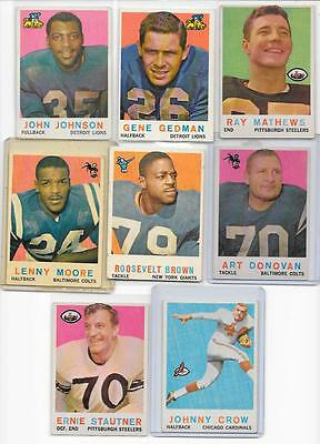 1959 VINTAGE TOPPS FOOTBALL CARD LOT- 16 CARDS - BIG NAMES AND ROOKIES
