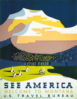 Vintage Travel Poster CANVAS PRINT See America Montana Native Indians 16x12