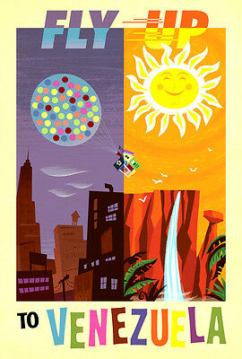 Vintage Travel Poster CANVAS PRINT Fly up to Venezuela 16x12