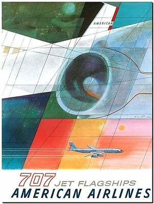 Vintage Travel Poster CANVAS PRINT American Airlines 707 plane 16x12