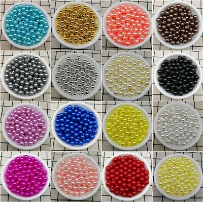 Hot 4  6  810mm Acrylic Round Pearl Spacer Loose Beads Jewelry Making DIY JND