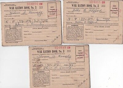 Lot of three WWII WAR RATION BOOK NO 3