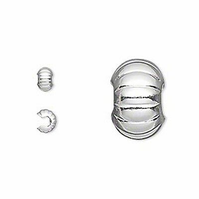 50 Silver Plated Corrugated Crimp Bead Covers 5MM