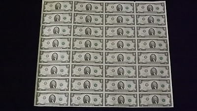 Mint Currency Uncut Sheet 32 x 2 Bill Dollar GEM Federal Reserve Notes