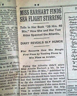 AMELIA EARHARTS 20 Hrs- 40 Min- Book Published Woman Airplane 1928 Newspaper