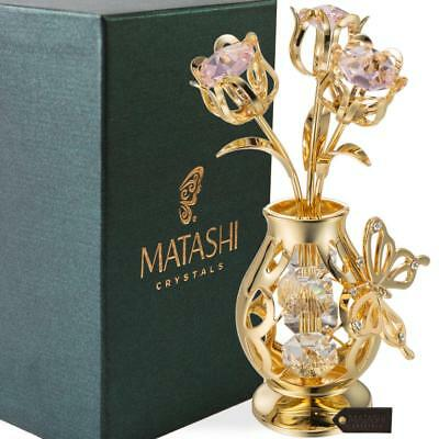 24k Gold Plated Tulip Flower Gift for Mothers Day with Pink Matashi Crystals