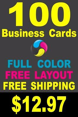 100 Full Color Gloss Custom Business Cards - Plus FREE Shipping - 12-97
