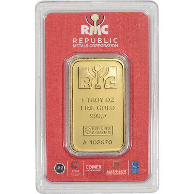 1 oz- RMC Gold Bar - Republic Metals Corp - 999-9 Fine in Sealed Assay