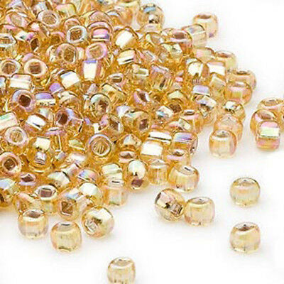 200 Gold Rainbow Silver Lined Matsuno 60 Glass Seed Beads Spacer Beads