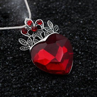 Mothers Day Evie Descendants Red Heart Crown Pendant Necklace Jewelry Gift