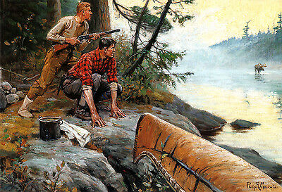 1909 Philip R- Goodwin Moose Hunting River Rifle Gun 20x14 CANVAS ART