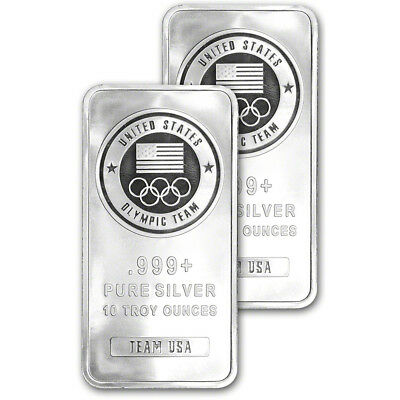 TWO 2 10 oz- Silver Bar - US Olympic Committee Team USA - 999 Fine - Sealed