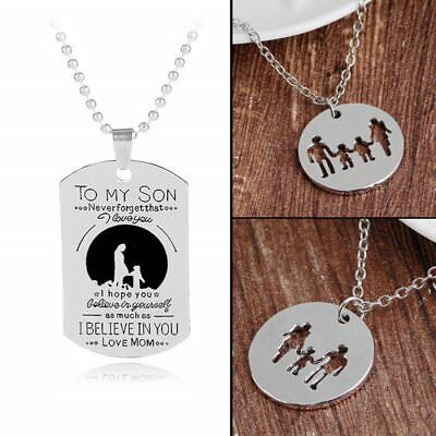 TO MY SON Letter Family Engraved Stainless Steel Necklace Mothers Day Jewelry