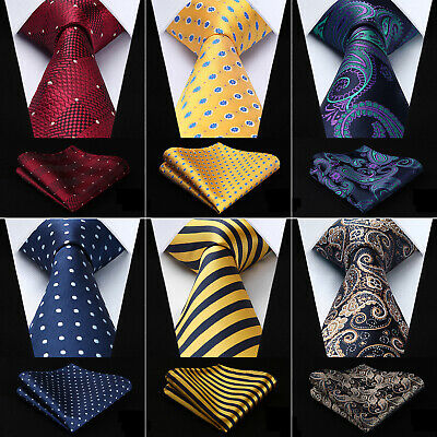 Hisdern Woven Men Tie 3-4 Silk Necktie Handkerchief Set Classic Wedding Party