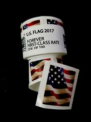 Rolls-USPS-Postal-Stamps-FOREVER-100-Roll  -US-Flag-2017-FIRST-CLASS-RATE