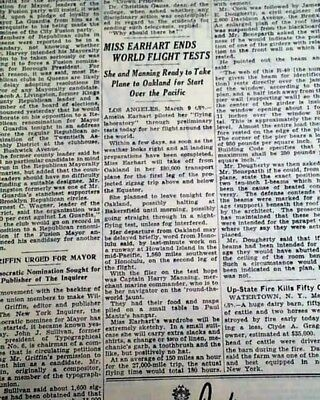 AMELIA EARHART Famous disappearance World Flight Tests Ends 1937 NYC Newspaper