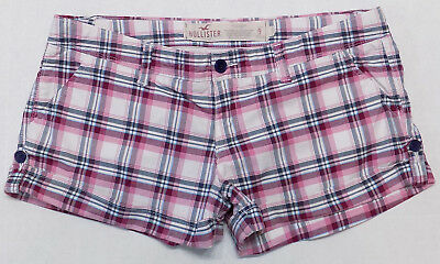 Hollister Co California Womens Cuffed Cotton Twill Plaid Shorts Juniors Size 9
