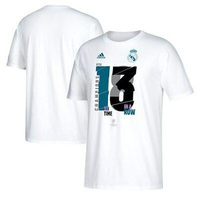 Real Madrid adidas 2018 Champions League Champion T-Shirt - White