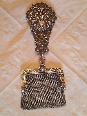 Antique Tiffany Victorian Sterling Silver Repousse Chatelaine Belt hook - purse