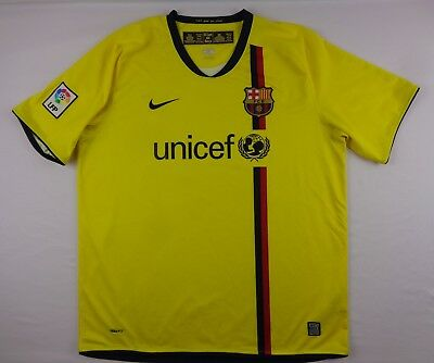 Nike Mens XL FC Barcelona Etoo 9 Away Soccer Jersey 266787-760 Yellow 200809