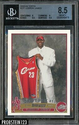 2003-04 Topps Basketball 221 LeBron James Cavaliers RC Rookie BGS 8-5 w 9-5