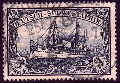 SOUTHWEST AFRICA GERMAN COLONY Mi- 22 used Kaiser Yacht stamp CV 72-50