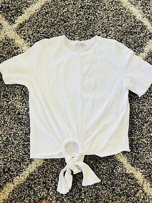 Zara Large White Tee Tie Front Perfect White short Sleeve Cotton Designer Top
