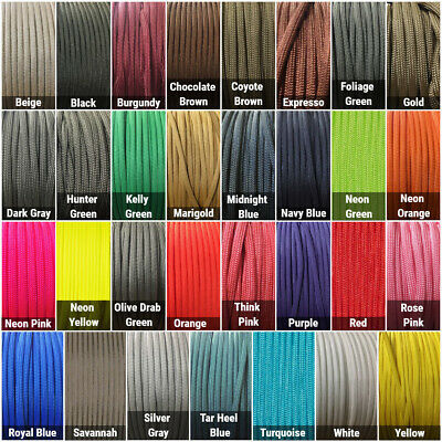 550 Paracord Type III 7 Strand Parachute Cord 10 25 50 100 ft - Made in USA