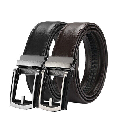Mens Comfort Click Belt Leather With Steel Brown And Black 28-48 US SHIP