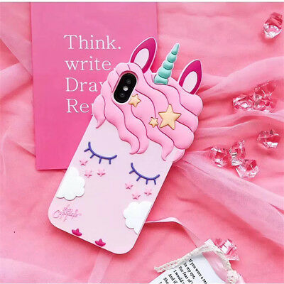 For iPhone Xs Max 7 8 Plus Pink Girly Unicorn Cute iPhone Case Protective Cover