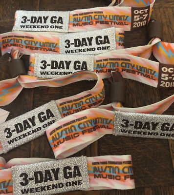 Austin City Limits Festival ACLTickets Wristbands - 3-DAY Oct 5-7 - Weekend 1