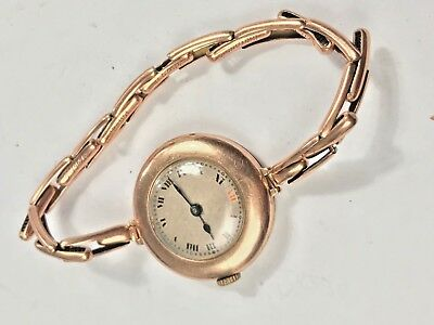 1920s Rolex red 12 ladies rose gold bracelet watch