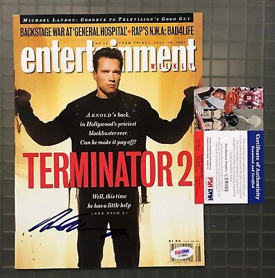 Arnold Schwarzenegger Signed 1991 ENTERTAINMENT WEEKLY Magazine PSADNA COA