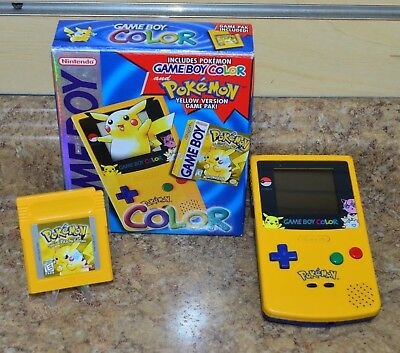 Nintendo Game Boy Color Pokémon Edition Yellow Handheld System W Box Pre Owned