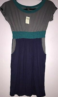 Wet Seal Dress Cap Sleeves Summer Elastic Waist With Pockets Size XS New