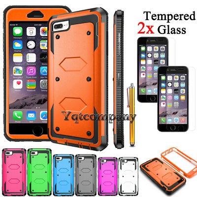 Case For iPhone 8 Plus 7 6 SE 11 12 XR XS Max Phone Cover-Glass Screen Protector