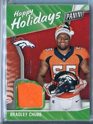 2018 Panini Black Friday Bradley Chubb Happy Holidays Santa Hat Relic RC 2050