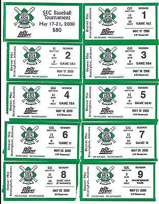 2000 SEC BASEBALL TOURNAMENT ALL 9 SESSIONS TICKETS LSU NATIONAL CHAMPS SEASON