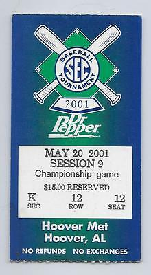 2001 SEC CHAMPIONSHIP TOURNAMENT CHAMPIONSHIP GAME TICKET LSU - MISSISSIPPI ST