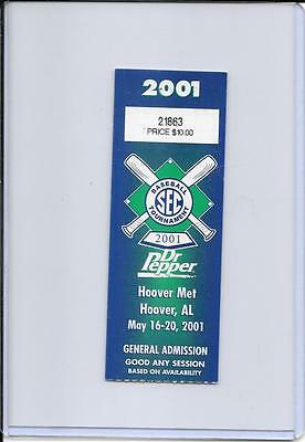 2001 SEC BASEBALL TOURNAMENT GENERAL ADMISSION TICKET