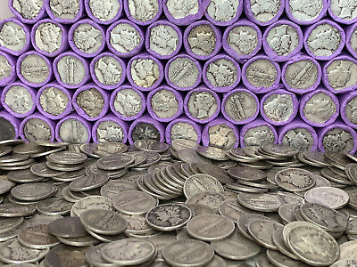 SILVER MERCURY DIME ROLL OLD US COIN LINCOLN WHEAT CENTS BANK ESTATE SALE COINS