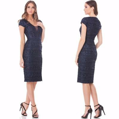 NEW JS COLLECTIONS Navy CHEVRON Embroidered Floral MIDI Slit COCKTAIL DRESS 10
