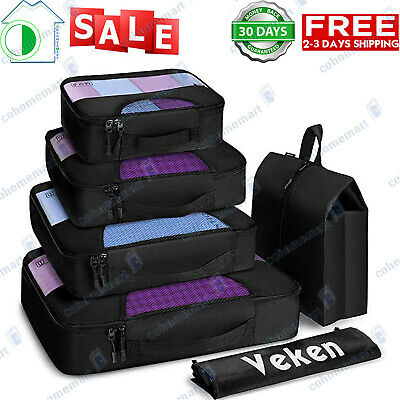 6 Set Packing Cubes Travel Luggage Organizers with Laundry Bag - Shoe Bag
