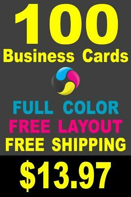 100 Full Color Gloss Custom Business Cards - Plus FREE Shipping - 13-97